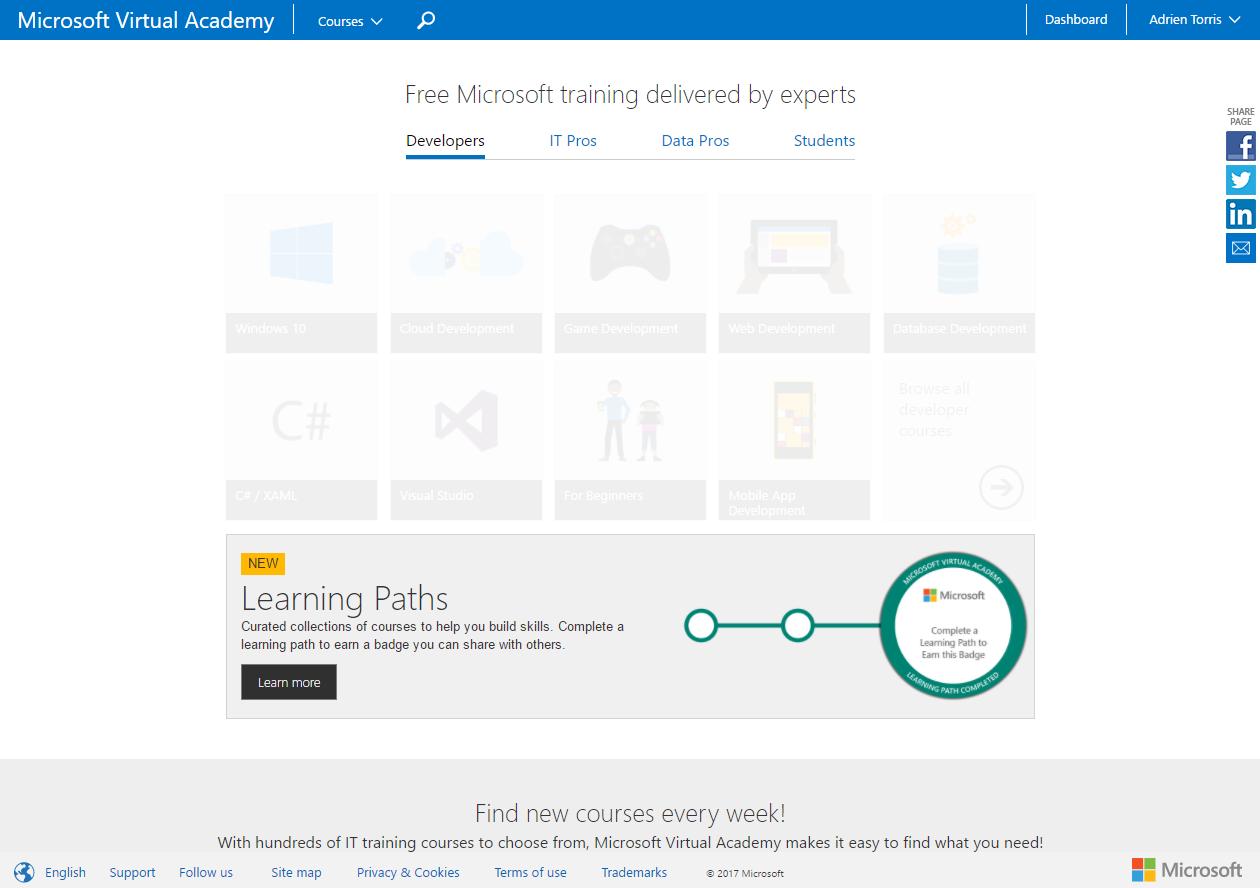 Microsoft virtual academy mva introduices the learning paths homepage of the microsoft virtual academy mva 1betcityfo Gallery