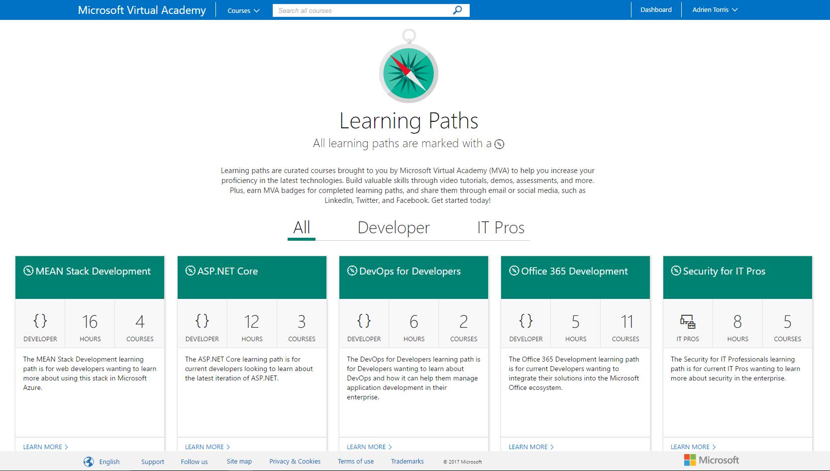 Microsoft virtual academy mva introduices the learning paths learning paths on the microsoft virtual academy mva 1betcityfo Gallery