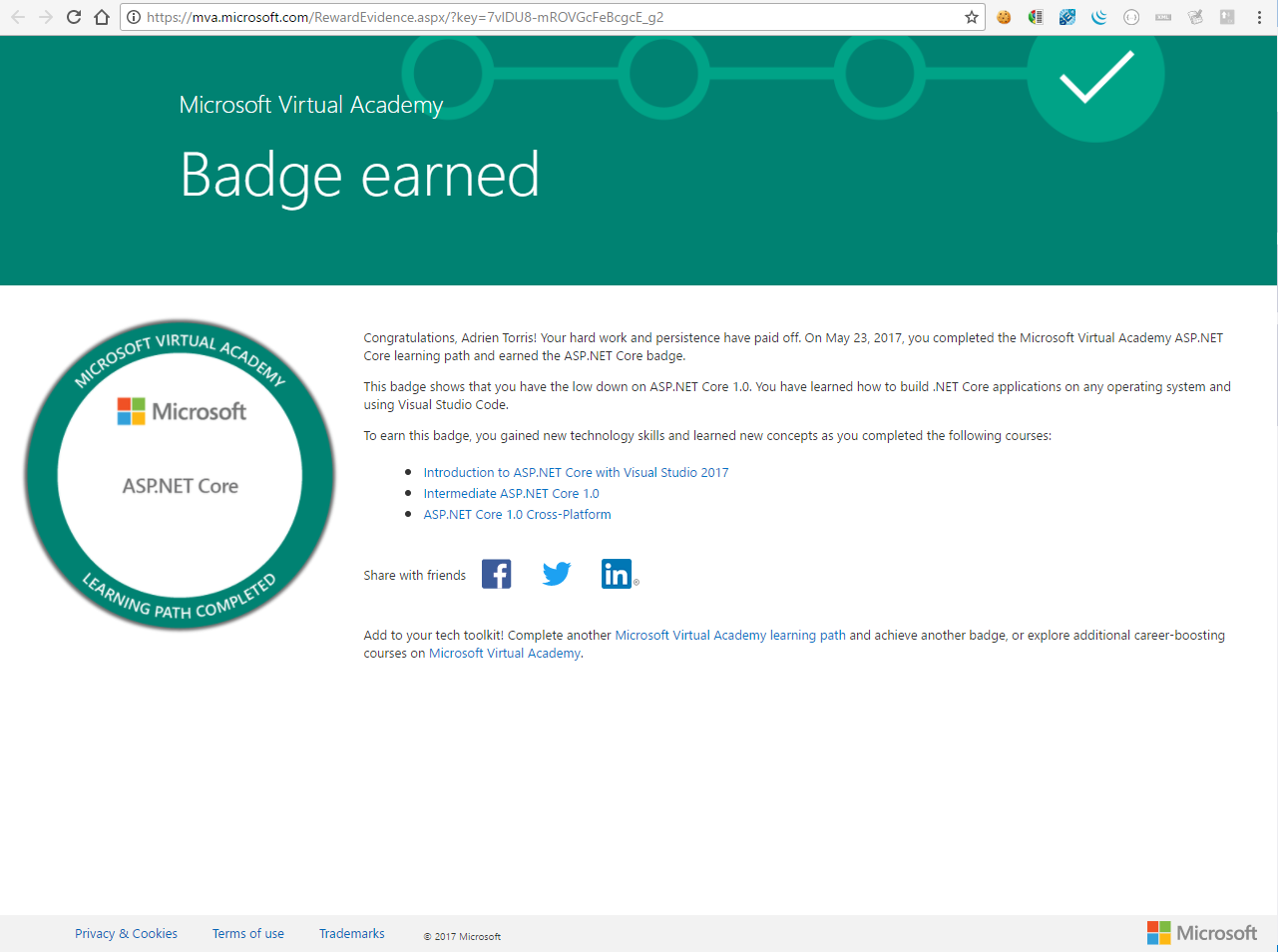 ASP.NET Core Leaning Path completed badge